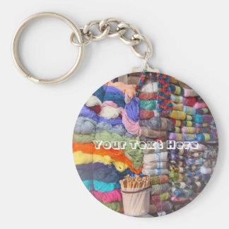 Yarn Shop in Peru Basic Round Button Key Ring