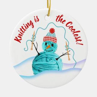 Yarn snowman knitting needles Christmas ornament