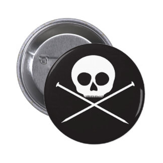 YarnCore Skull and Cross Needles 6 Cm Round Badge