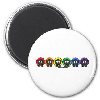 Yarnoholics Anonymous Fluffy Rainbow Sheep 6 Cm Round Magnet