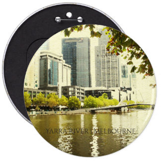 YARRA RIVER MELBOURNE PAINTING LEATHER MONOGRAM 6 CM ROUND BADGE