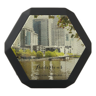 YARRA RIVER MELBOURNE PAINTING LEATHER MONOGRAM BLACK BLUETOOTH SPEAKER