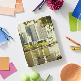 YARRA RIVER MELBOURNE PAINTING LEATHER MONOGRAM iPad SMART COVER