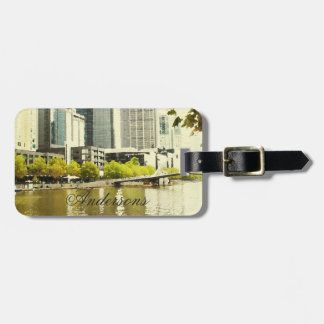 YARRA RIVER MELBOURNE PAINTING LEATHER MONOGRAM LUGGAGE TAG