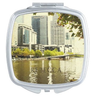 YARRA RIVER MELBOURNE PAINTING LEATHER MONOGRAM MAKEUP MIRROR