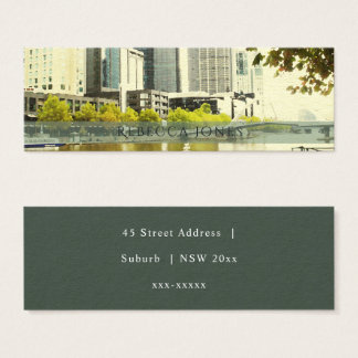 YARRA RIVER MELBOURNE PAINTING LEATHER MONOGRAM MINI BUSINESS CARD