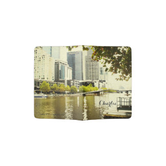 YARRA RIVER MELBOURNE PAINTING LEATHER MONOGRAM PASSPORT HOLDER
