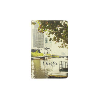 YARRA RIVER MELBOURNE PAINTING LEATHER MONOGRAM POCKET MOLESKINE NOTEBOOK