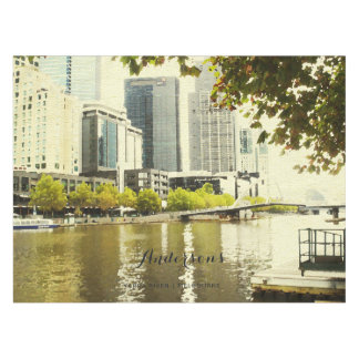 YARRA RIVER MELBOURNE PAINTING LEATHER MONOGRAM TABLECLOTH