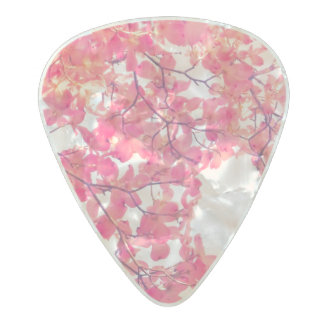 Yarrow Pink Flowers Bright Tinted Nature Tree Pearl Celluloid Guitar Pick