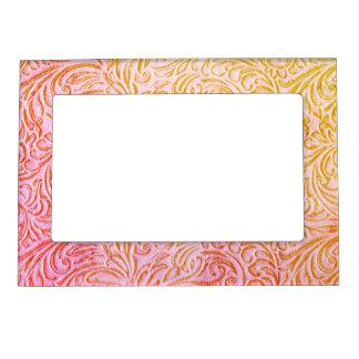 Yarrow Pink Vintage Floral Scrollwork Graphic Frame Magnets