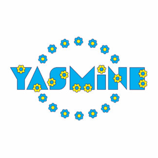 Yasmine in Flores Blue Standing Photo Sculpture