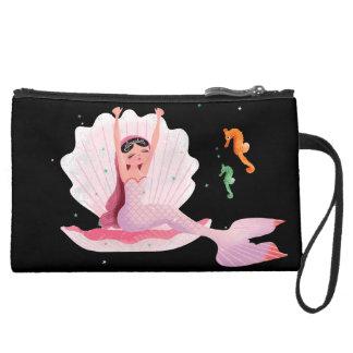 Yawning cute mermaid with a goldfish illustration wristlet purse