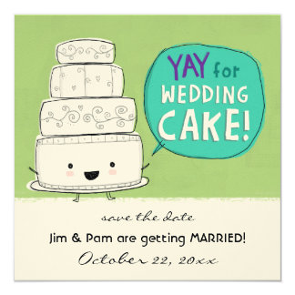 YAY for Wedding Cake Wedding Invitation