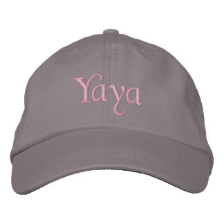 Yaya Embroidered Baseball Cap Hat Pink Gray