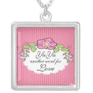 YaYa Love  Grandparent Necklace Floral Frame