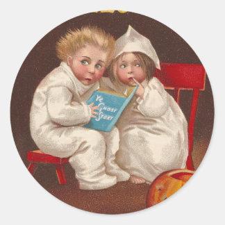 Ye Ghost Story Scares Kids Vintage Halloween Round Sticker