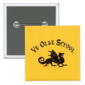 Ye Olde School Medieval Dragon Button
