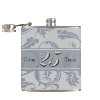 Year 25 Wedding Anniversary Personalized Hip Flasks