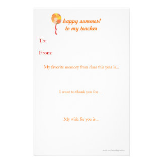 Year-end teacher thank you note customised stationery