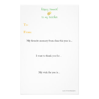 Year-end teacher thank you note stationery paper