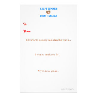 Year-end teacher thank you note personalised stationery