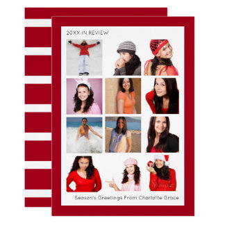 Year In Review Twelve Photo Personalized Christmas Card