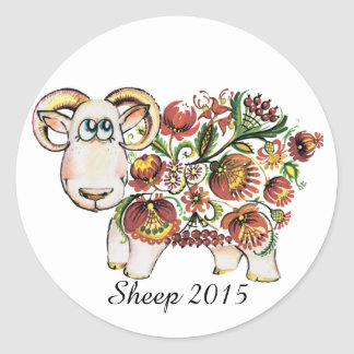 Year of a sheep - Ukrainian Petrykivsky Painting Classic Round Sticker