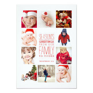 Year of Photos Season's Greetings Collage in Red 13 Cm X 18 Cm Invitation Card