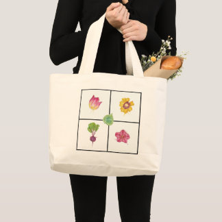 Year of the Beet, Tulip, Calibrachoa  grocery tote