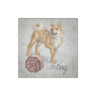 Year of the Dog Chinese Zodiac Art Stone Magnet
