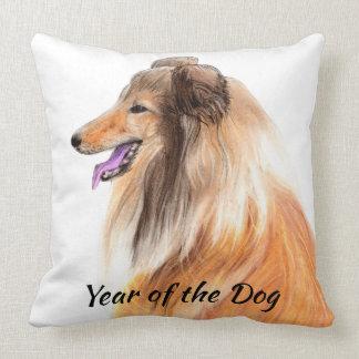 Year of the Dog - Hand Drawn Collie Print Cushion