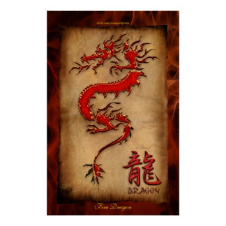 Year of the Dragon, Fire Dragon Art Poster