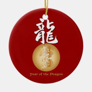 Year of the Dragon rectangle Round Ceramic Decoration