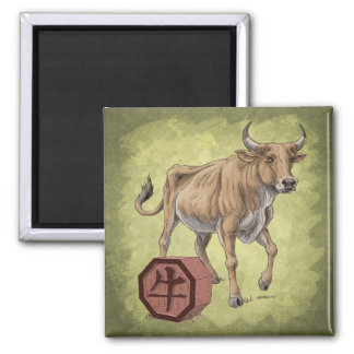 Year of the Ox Chinese Zodiac Art 2 Inch Square Magnet