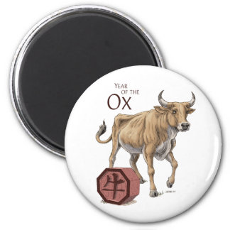 Year of the Ox Chinese Zodiac Art 2 Inch Round Magnet