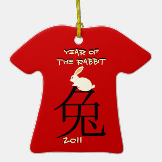 Year of the rabbit Chinese New Year 2011 Double-Sided T-Shirt Ceramic Christmas Ornament
