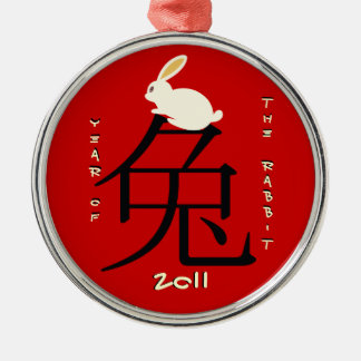 Year of the rabbit Chinese New Year 2011 Silver-Colored Round Decoration