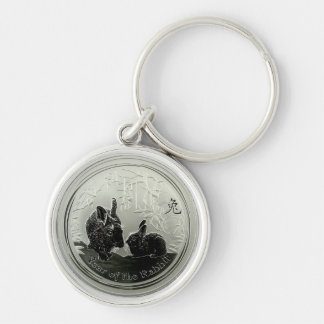 year of the Rabbit Coin Silver-Colored Round Key Ring