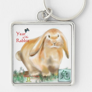 Year of the Rabbit Silver-Colored Square Key Ring