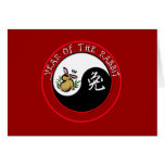 Year of the Rabbit - yinyang (white text) Greeting Cards