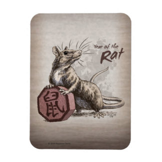 Year of the Rat Chinese Zodiac Art Magnet