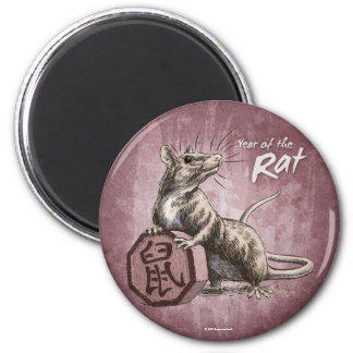 Year of the Rat Chinese Zodiac Art 2 Inch Round Magnet