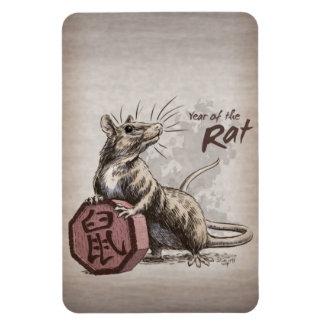 Year of the Rat Chinese Zodiac Art Rectangular Photo Magnet