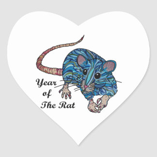 Year Of The Rat Heart Sticker