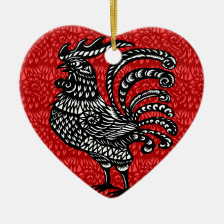 Year of the rooster ceramic heart decoration