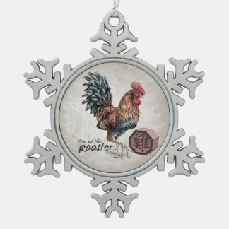 Year of the Rooster Chinese Zodiac Art Snowflake Pewter Christmas Ornament