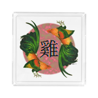Year of the Rooster Circle Acrylic Tray