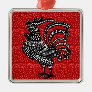 Year of the rooster Silver-Colored square decoration
