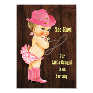Yee-Haw! Blonde Cowgirl Rustic Baby Shower Card